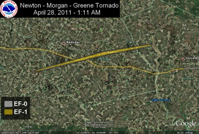 [ Path of EF-1 tornado that struck Newton, Morgan, and Greene Counties. ]