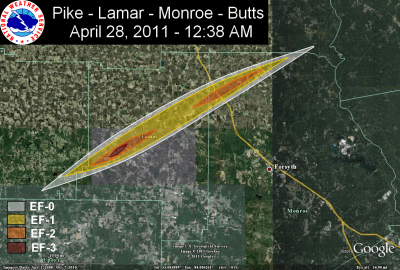 [ Path of EF-3 tornado that struck Pike, Lamar, Monroe, and Butts counties ]
