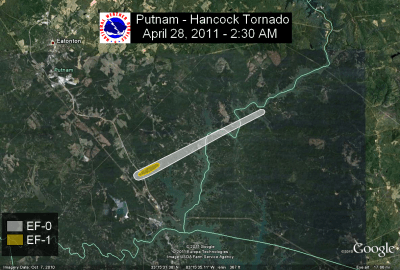[ Path of EF-1 tornado that struck Putnam and Hancock Counties. ]