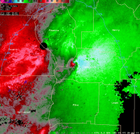 [ Storm Relative Velocity of Spalding county tornado ]