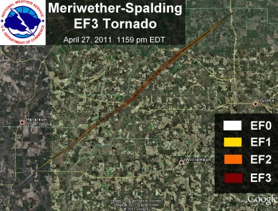 [ Path of EF-3 tornado that struck Meriwether, Spalding, and Henry counties ]