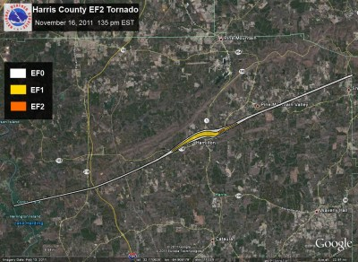 [ Track of Harris County tornado. ]