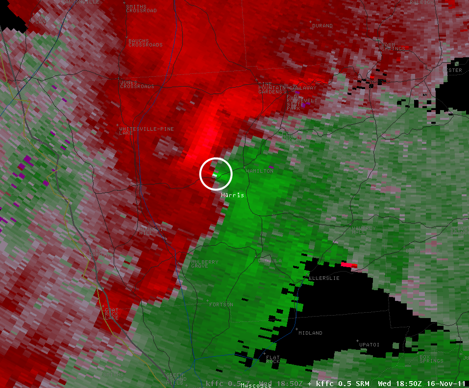 [ Velocity image from Harris County Tornado. ]