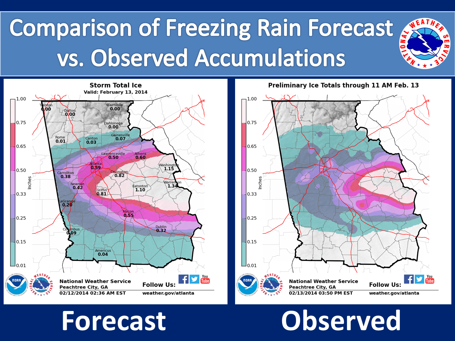 [ Total Ice Accumulation for North and Central Georgia]