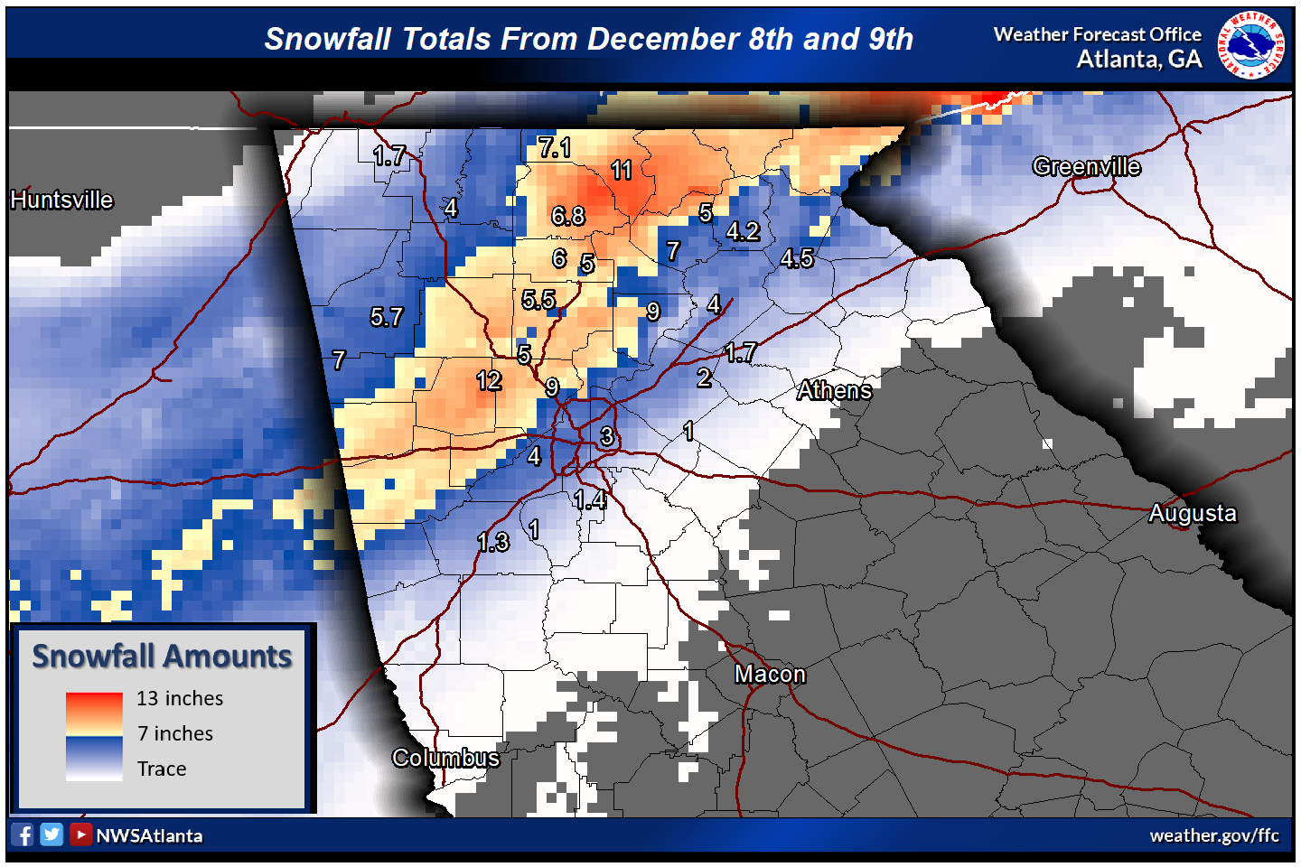 on snowfall aculation map