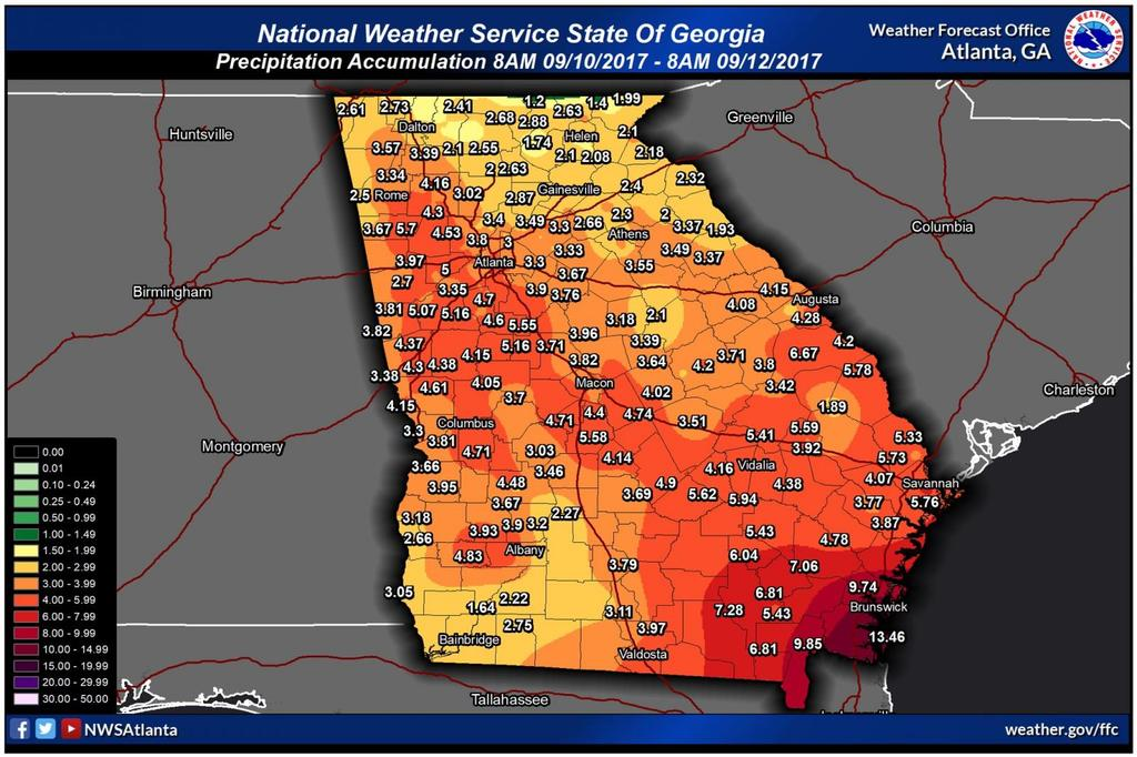 Irma Causes Widespread Damage in Georgia (9/11/17)