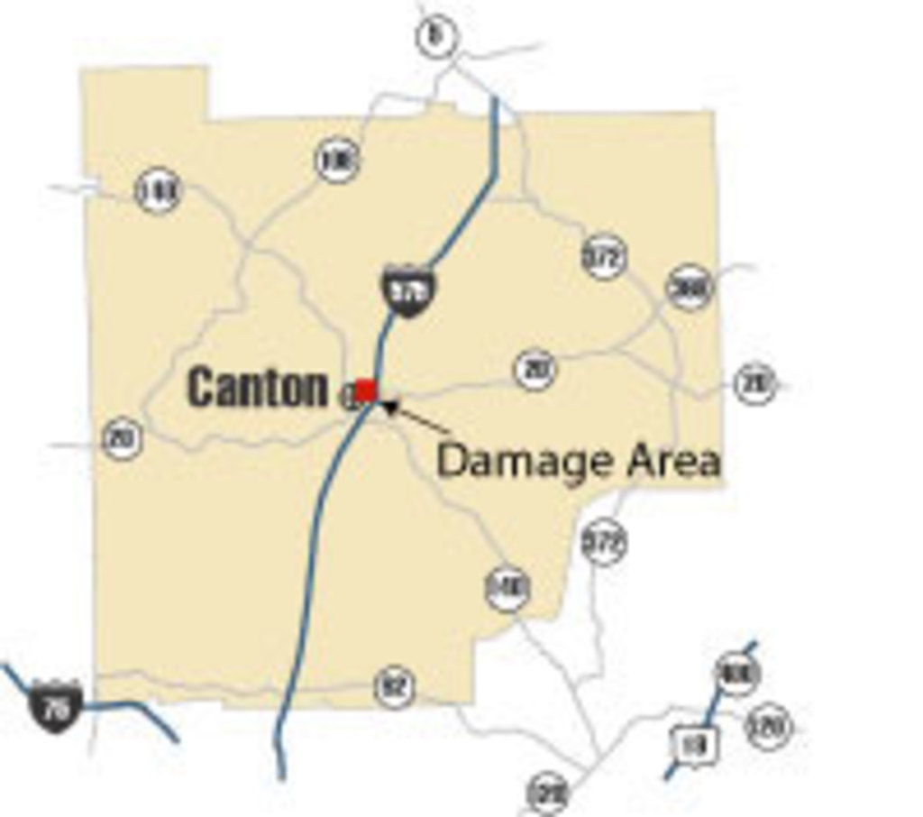 [ location of damage in Cherokee County ]
