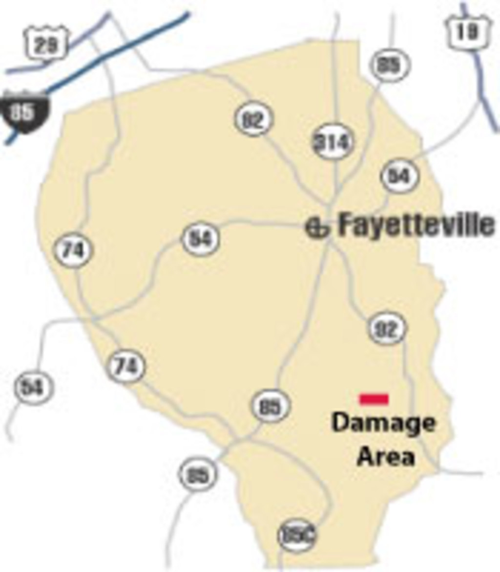 [ location of damage in Fayette County ]