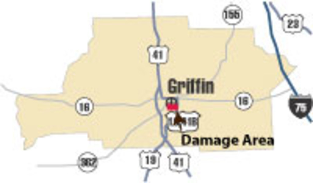 [ location of damage in Spalding County ]