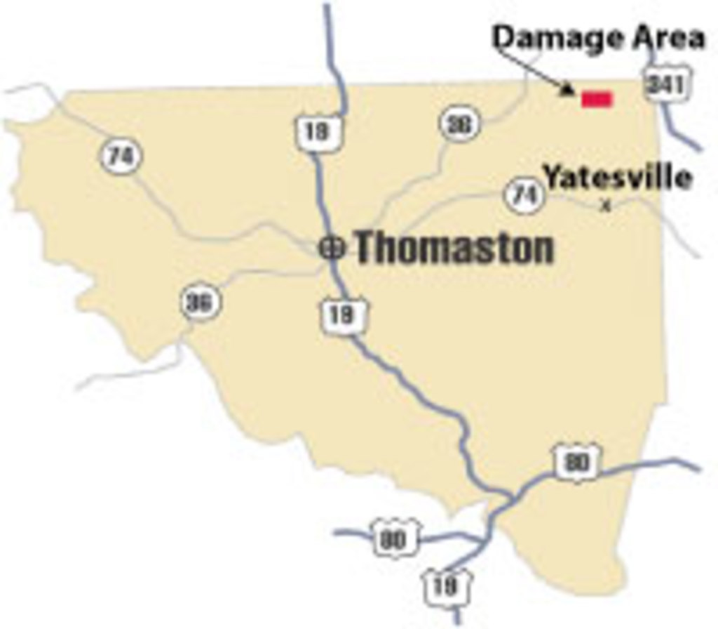 [ location of damage in Upson County ]