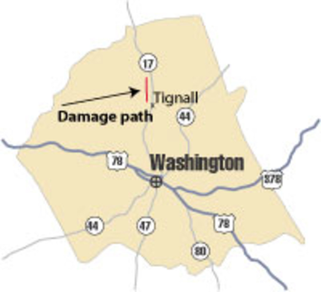 [ location of damage in Wilkes County ]