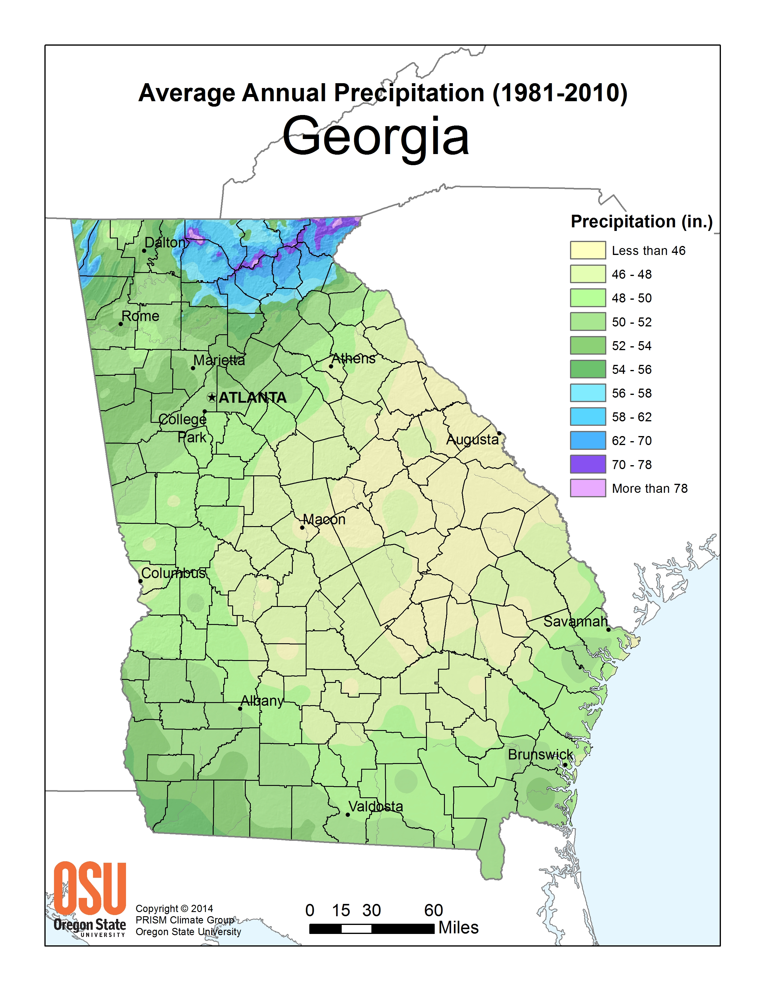 Show Me A Map Of The State Of Georgia.Rainfall Resources