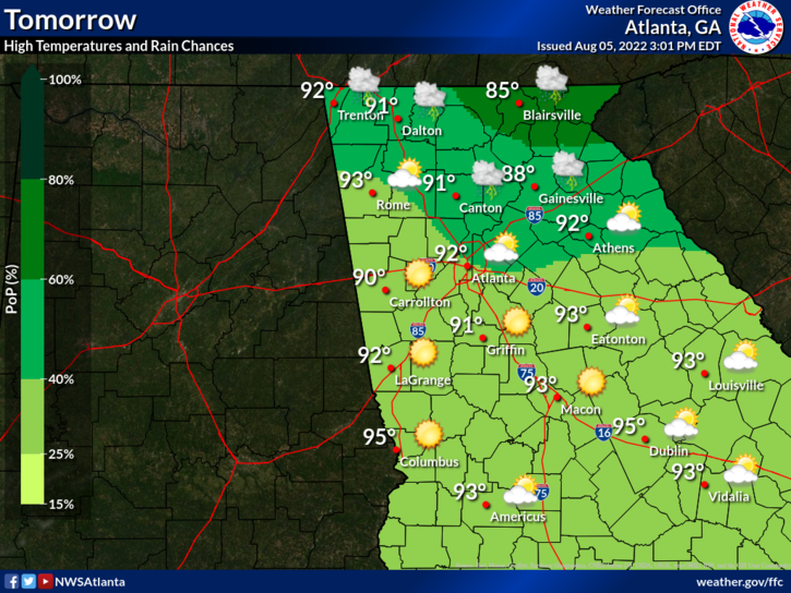Shown On The Map Are The Expected High Temperatures Weather Conditions And Probabilities Of Precipitation For Tomorrow