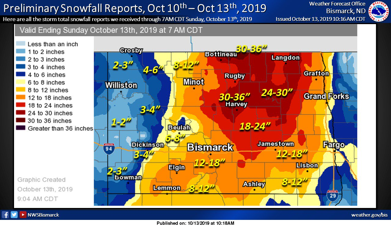 Review of the October 10-12, 2019 Crippling Blizzard over ... on n dakota road map, south dakota dot road conditions map, north dakota county roads, nd sd map, weather north dakota road map, north dakota road map printable, esmeralda county nevada map, north dakota road restriction map, north dakota nd maps,