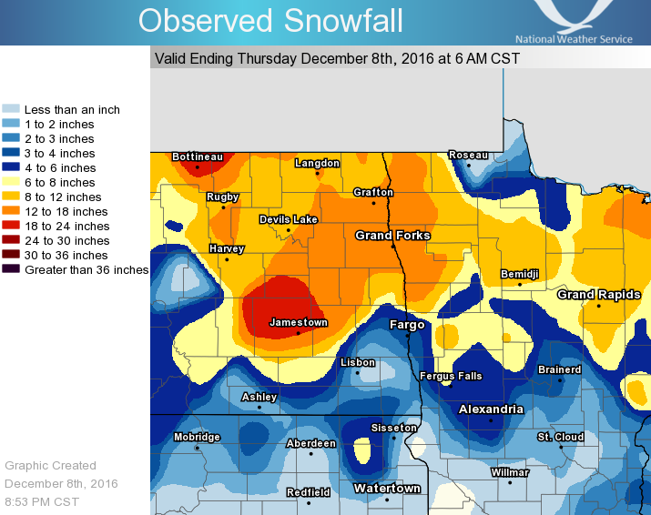 Storm Totals For Eastern North Dakota And Northwest Minnesota The Following Are Three Day Storm Totals For The December  Winter Storm Event