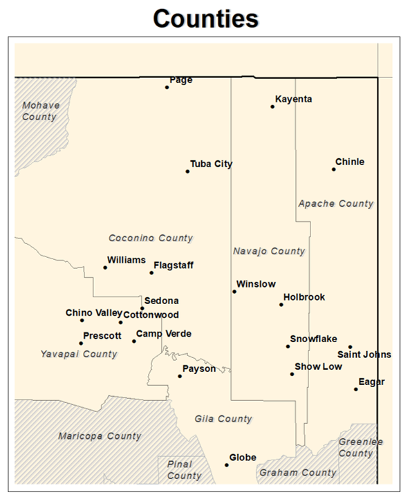 Counties Snow Table for Northern Arizona