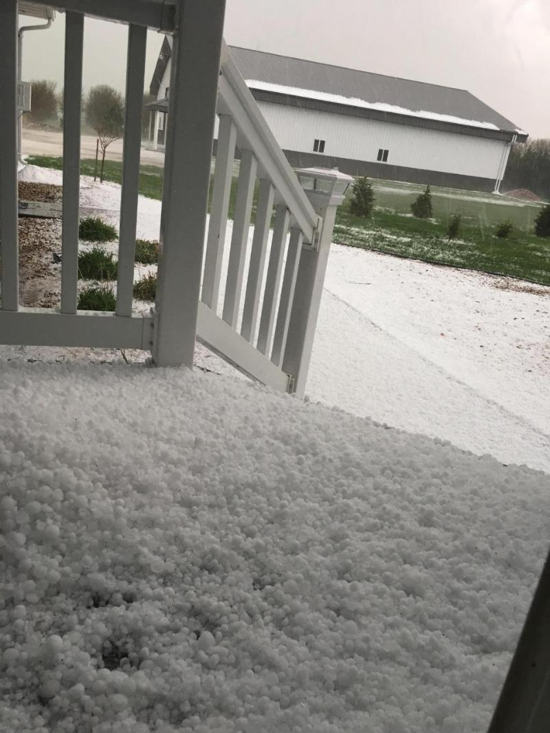 Hail covering the ground 4 miles south of Carthage, South Dakota.