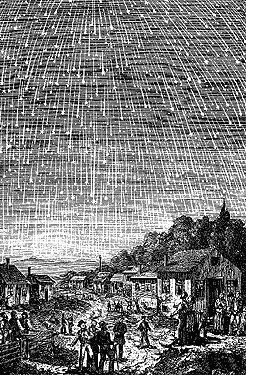 Artist conception of 1833 Leonid meteor storm