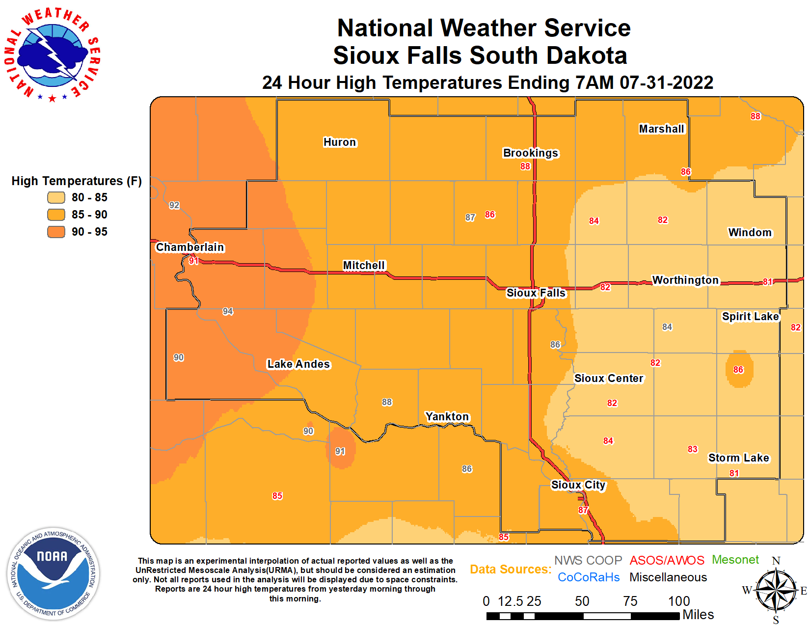 Daily Climate Maps thumbnail - Click to view full size maps for high/low temperatures and precipitation.