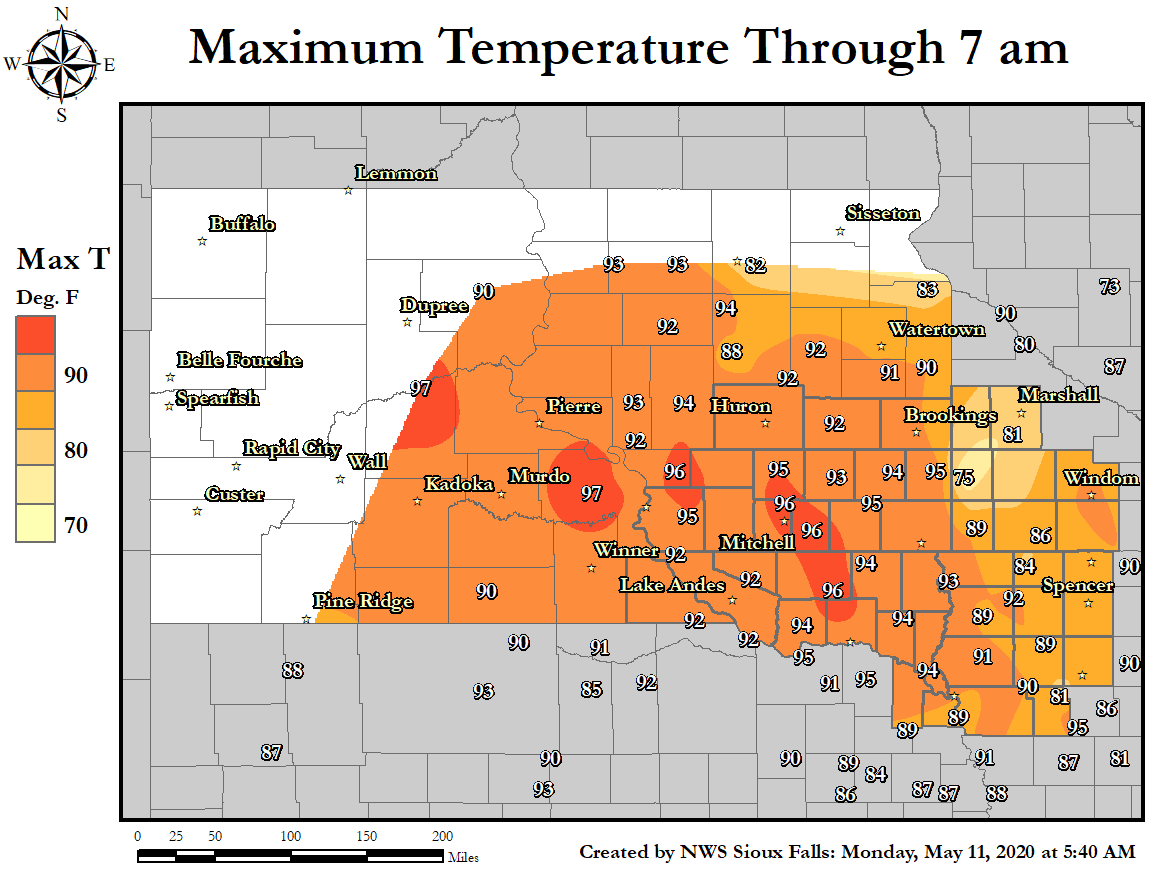 Daily Temperature and Precipitation Maps – South Dakota Travel Information Map