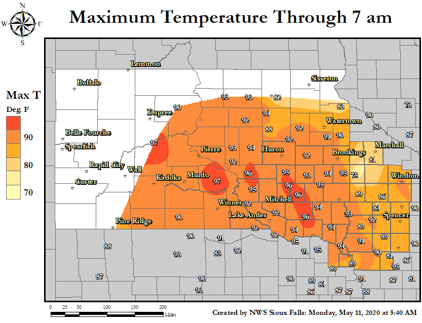 24 Hour Maximum Temperature Map.  Click map for a larger view.