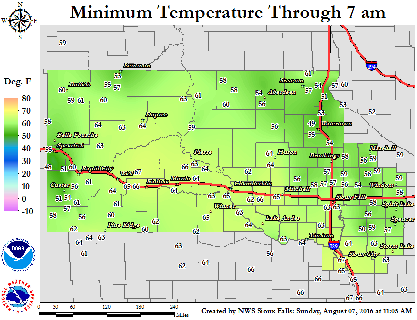 24 Hour Minimum Temperature Map.  Click map for a larger view.