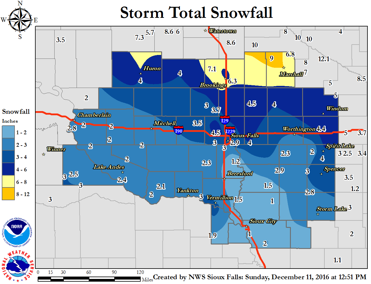 Map of snowfall totals from December 10-11, 2016