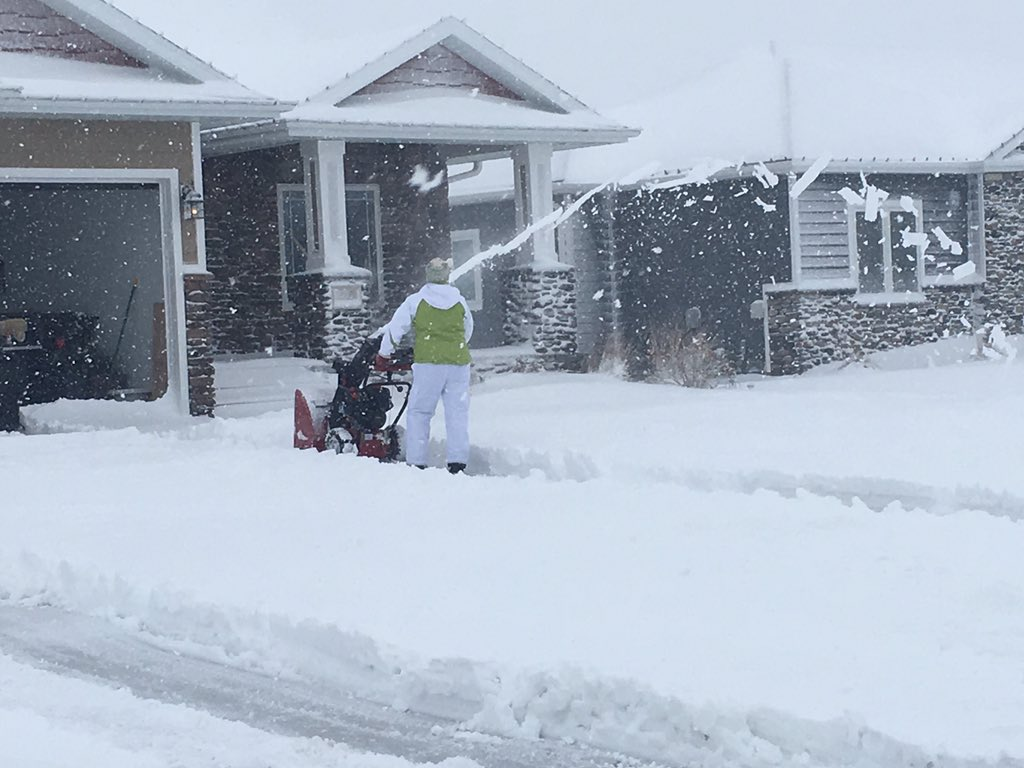 Clearing heavy snow after Blizzard in Sargeant Bluff Iowa