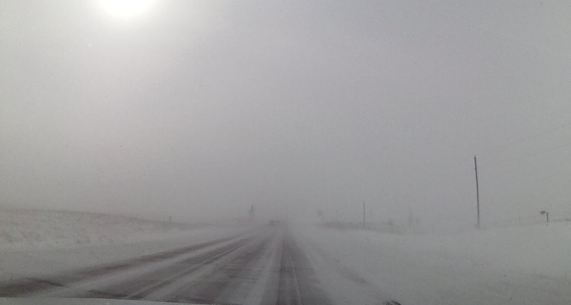Icy roads and poor visibility along Highway 9 in Dickinson County