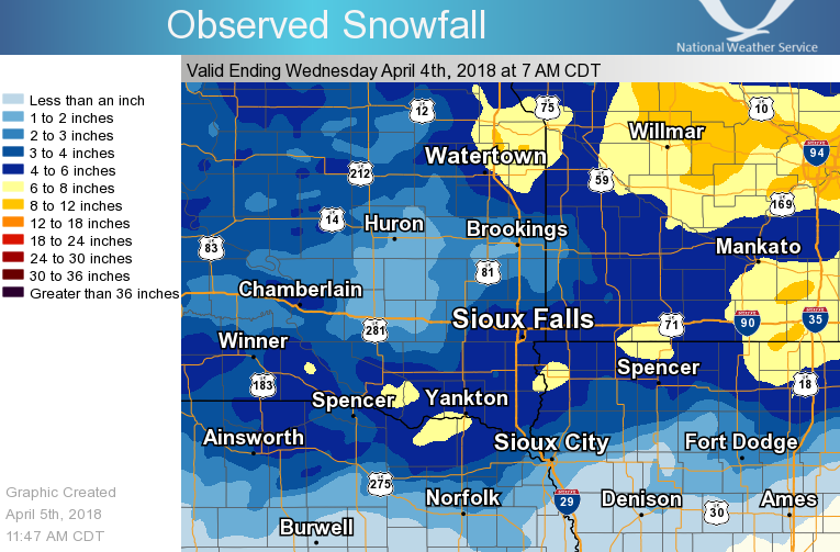 Map of observed snowfall for April 2-3, 2018