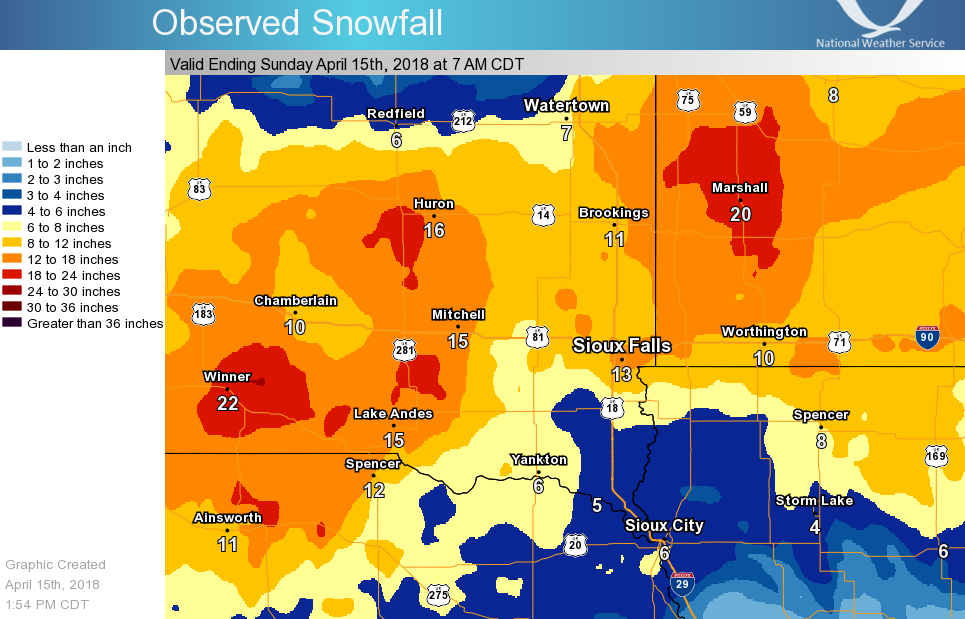 Map of 2-Day snowfall amounts across southeast South Dakota, southwest Minnesota, northeast Nebraska and northwest Iowa.