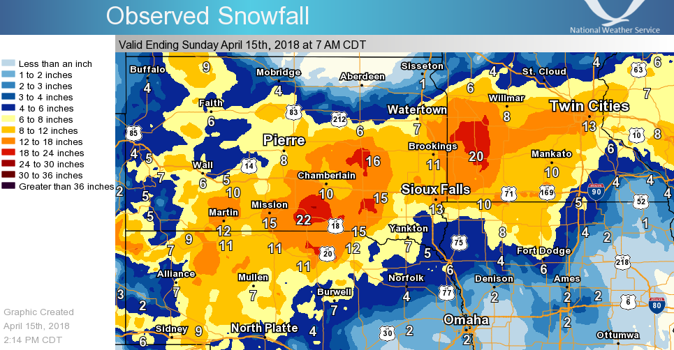 Regional 3-Day snowfall map from the April 13-15, 2018 Blizzard
