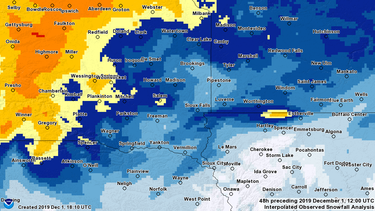 Map of 48-hour Snowfall for November 29-December 1, 2019