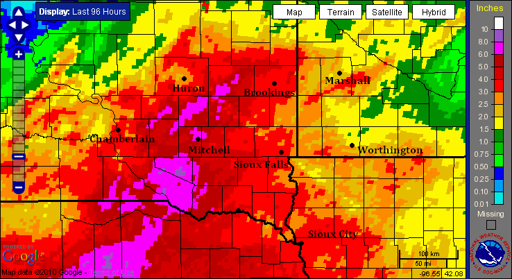 Map of 96-hour rainfall over southeast South Dakota ending June 13, 2010