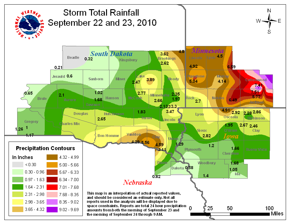 Storm Total Precipitation for September 22nd and 23rd, 2010