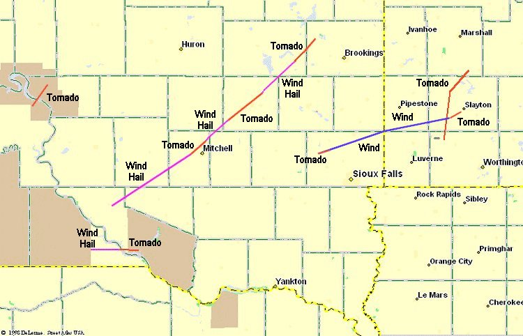 Map showing the path of the most significant storms that occurred on 16 June 1992.  A magenta line signifies wind and hail damage, a blue line signifies wind damage, and a red line signifies tornado damage.