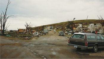 Picture of the destruction on the west side of Chandler.  Picture taken 17 June 1992.