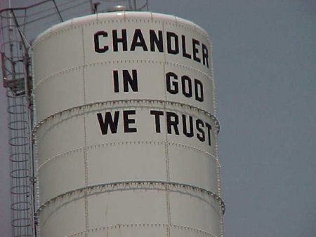 The new Chandler water tower.  Taken 12 June 2002.