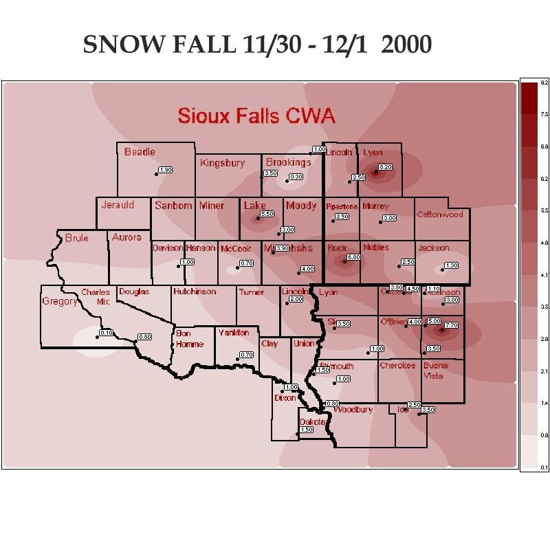 24 Hour Snow Fall for November 30-December 1, 2000 (Text Data Below Map)