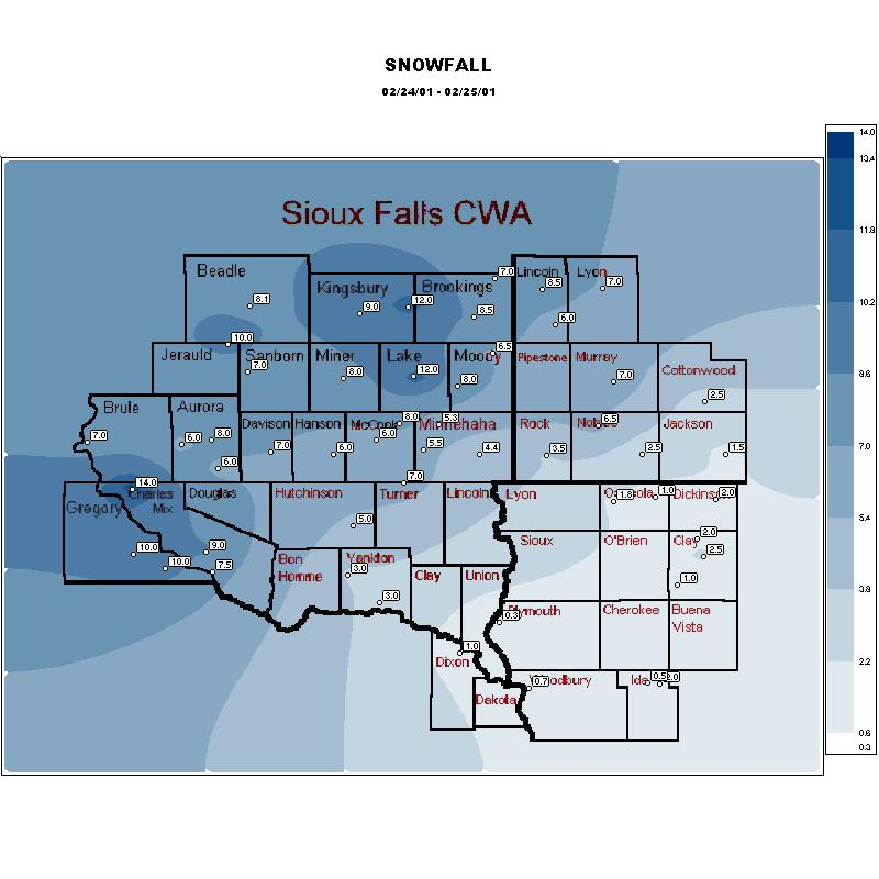Map of snowfall for February 24-25, 2001