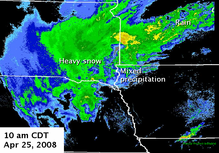 Radar imagery from 10 am CDT, April 25, 2008