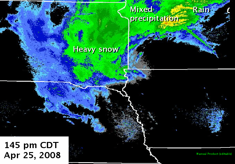 Radar imagery from 145 pm CDT, April 25, 2008