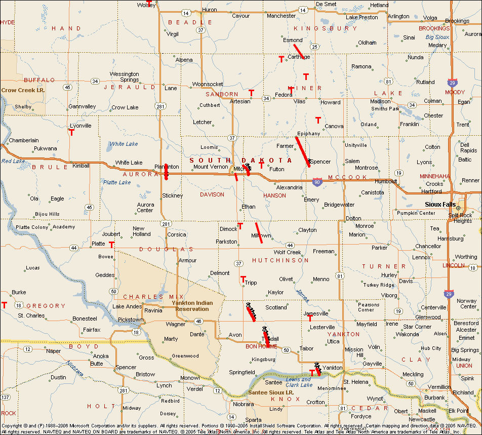 Southeast South Dakota Tornadoes On May - Map of sd