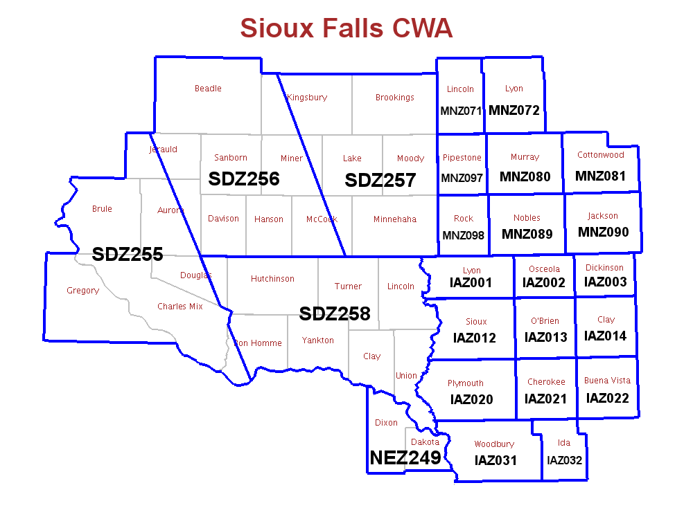sioux falls south dakota map Nws Sioux Falls Fire Weather sioux falls south dakota map