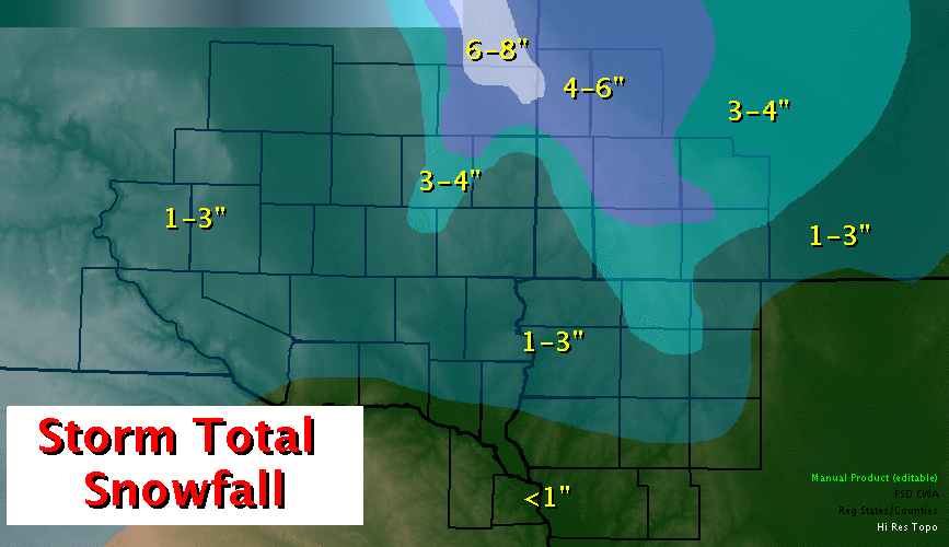 Storm Total Snowfall Thursday and Friday