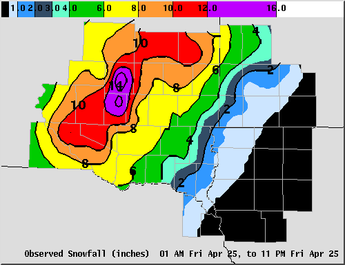 Total snowfall from April 25, 2008