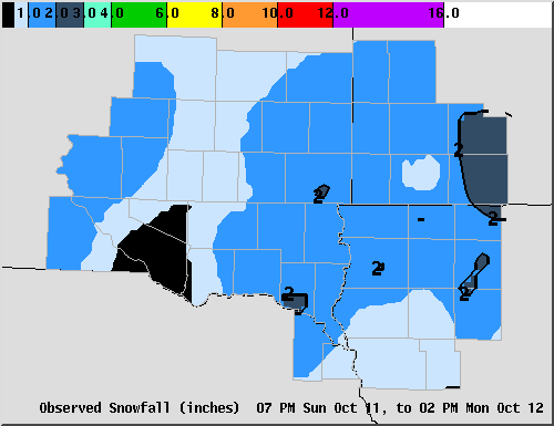 Map of Snowfall from 6 pm Sunday, October 11,  to 12 Noon Monday, October 12, 2009