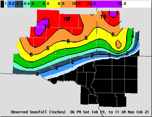 Map of snowfall reports for February 20-21, 2011