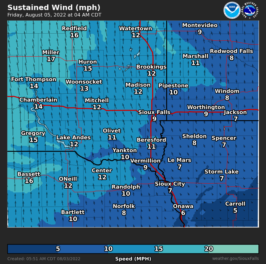 Forecast Sustained Wind Speed and Direction