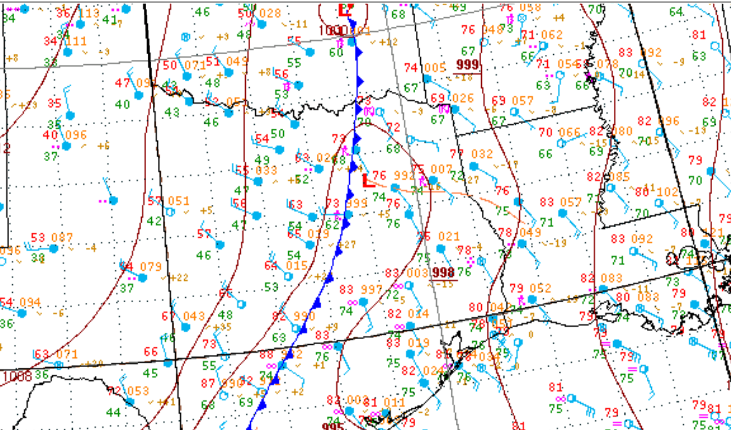 1900 CDT Regional Surface Analysis